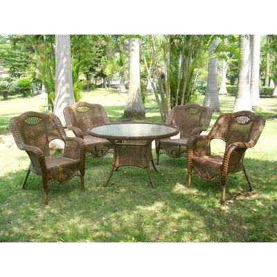 Riviera 5-Piece Wicker ResinAluminum Patio Game Group Set Finish: Mocha