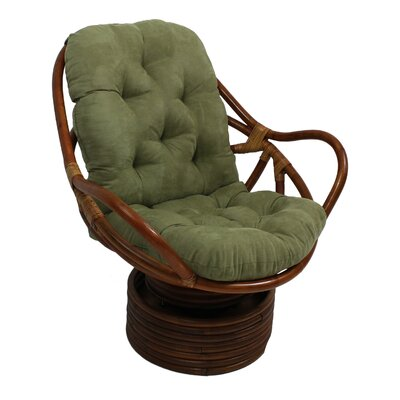 Rattan Swivel Papasan Chair Upholstery: Hunter Green