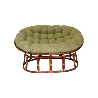 Rattan Double Papasan Chair with Micro Suede Cushion Upholstery: Sage