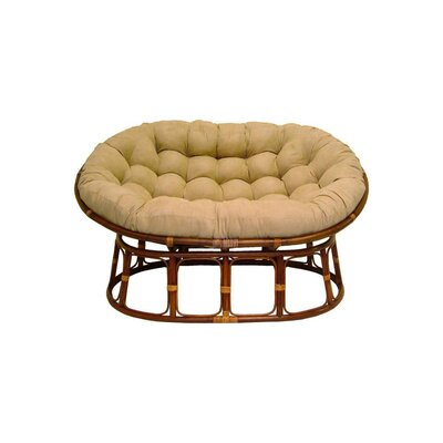 Rattan Double Papasan Chair with Micro Suede Cushion Upholstery: Java