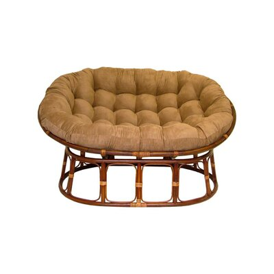 Rattan Double Papasan Chair with Micro Suede Cushion Upholstery: Camel