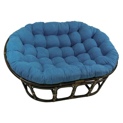 Rattan Double Papasan Chair with Micro Suede Cushion Upholstery: Indigo