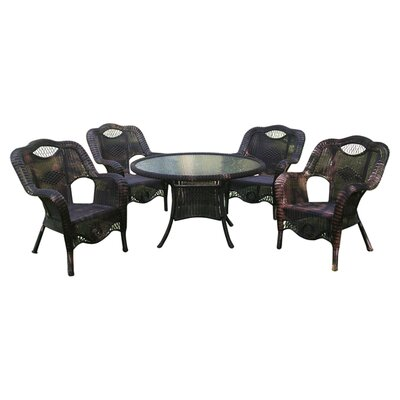 Riviera 5-Piece Wicker ResinAluminum Patio Game Group Set Finish: Antique Black