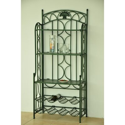 Charleston 5-Tier Iron IndoorOutdoor Bakers Rack Finish: Verdigris