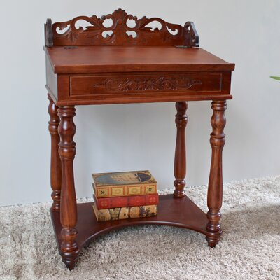 Windsor Hand Carved Small Wood Writing Desk Image 369