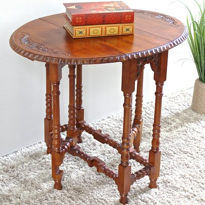 Windsor Hand Carved Wood Foldout Console Table