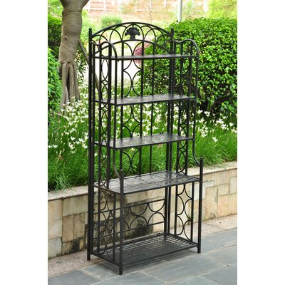 Charleston 5 Tier Indoor/Outdoor Bakers Rack Finish: Antique Black