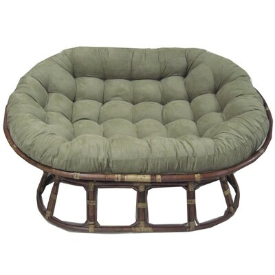 Rattan Double Papasan Chair with Micro Suede Cushion Upholstery: Hunter Green