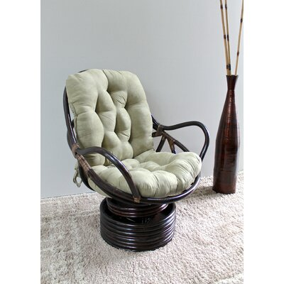 Rattan Swivel Papasan Chair Upholstery: Red Wine