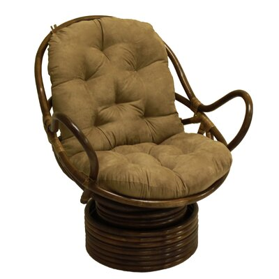 Rattan Swivel Lounge Chair Upholstery: Saddle Brown