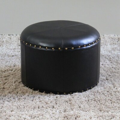 Seville Faux Leather Ottoman Upholstery: Black