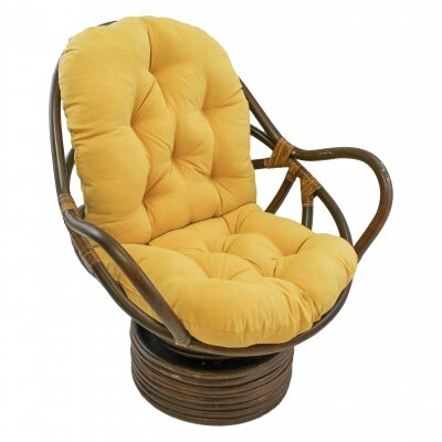 Rattan Swivel Papasan Chair Upholstery: Lemon