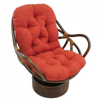 Rattan Swivel Papasan Chair Upholstery: Cardinal Red