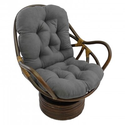 Rattan Swivel Papasan Chair Upholstery: Grey