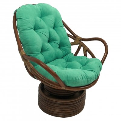 Rattan Swivel Papasan Chair Upholstery: Emerald