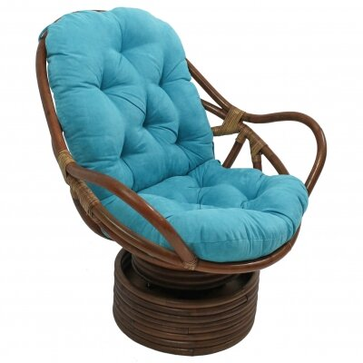 Rattan Swivel Papasan Chair Upholstery: Aqua Blue