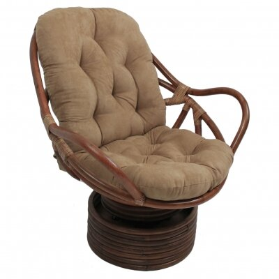 Rattan Swivel Papasan Chair Upholstery: Java