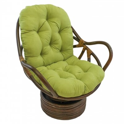 Rattan Swivel Papasan Chair Upholstery: Mojito Lime