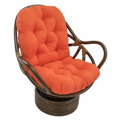 Rattan Swivel Papasan Chair Upholstery: Tangerine Dream
