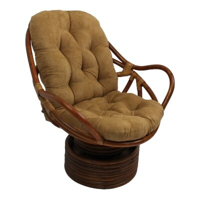 Rattan Swivel Papasan Chair Upholstery: Camel