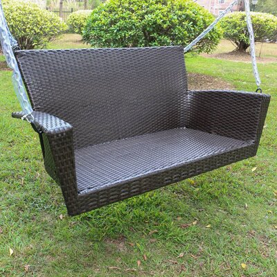 Barnet Contemporary Resin Wicker Porch Swing Finish: Antique Black