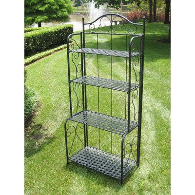 Mandalay 4-Tier IndoorOutdoor Bakers Rack Finish: Antique Black