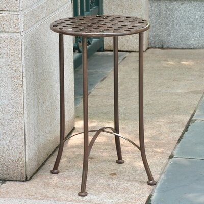 Mandalay 16-inch Iron Patio Side Table Finish: Brown