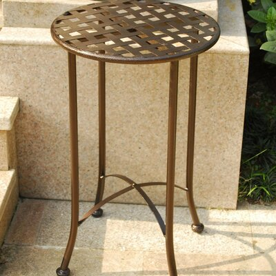 Mandalay 16-inch Iron Patio Side Table Finish: Bronze