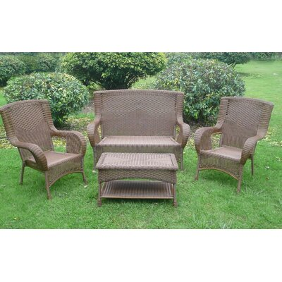 San Tropez 4 Piece Lounge Seating Group Finish: Antique Pecan