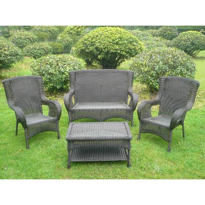 San Tropez 4 Piece Lounge Seating Group Finish: Antique Black