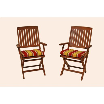 Outdoor Patio Folding Chair Cushion Color: Red Green Stripe