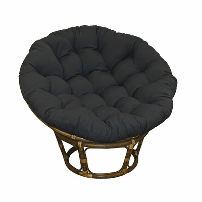 Papasan Lounge Chair Cushion Fabric: Black, Size: 52 W x 52 D