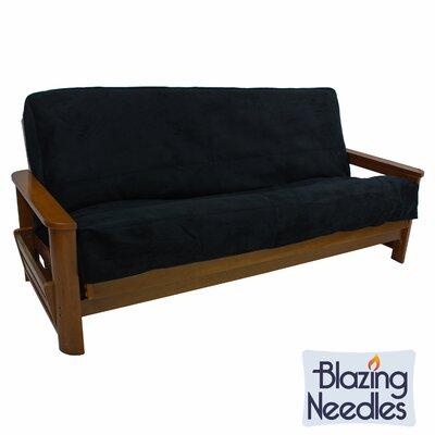 Queen Box Cushion Futon Slipcover Upholstery: Black