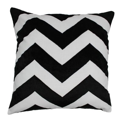 Indian Chevron Cotton Throw Pillow Color: Black / Ivory