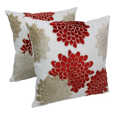 Indian Floral Bursts Cotton Throw Pillow