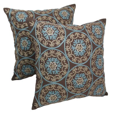 Indian Floral Medallion Hand-embroidered Cotton Throw Pillow