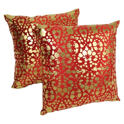 Paisley Scaled Throw Pillow Color: Crimson / Gold
