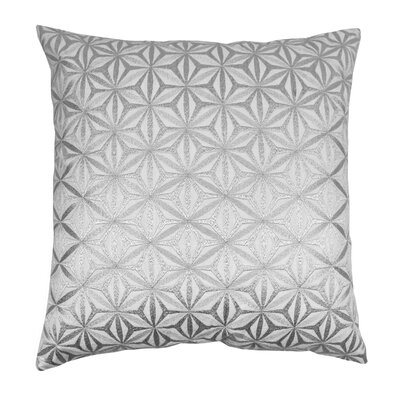 Indian Diamond Mosaic Hand-embroidered Cotton Throw Pillow Color: Silver