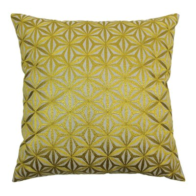 Indian Diamond Mosaic Hand-embroidered Cotton Throw Pillow Color: Gold