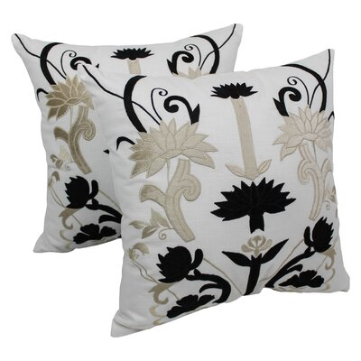 Indian Floral Elegance Cotton Throw Pillow