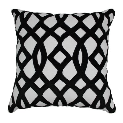Indian Trellis Cotton Throw Pillow Color: Black / Ivory