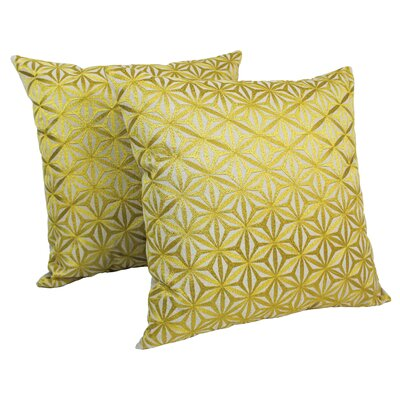 Indian Diamond Mosaic Embroidered Cotton Throw Pillow Color: Gold / Natural