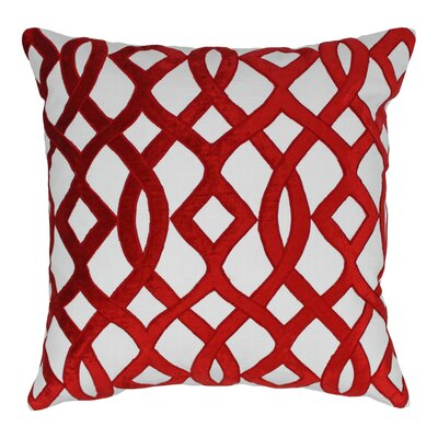Indian Trellis Cotton Throw Pillow Color: Crimson / Ivory