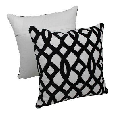 2 Piece Indian Trellis Cotton Throw Pillow Set Color: Black / Ivory