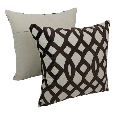 2 Piece Indian Trellis Cotton Throw Pillow Set Color: Brown / Natural