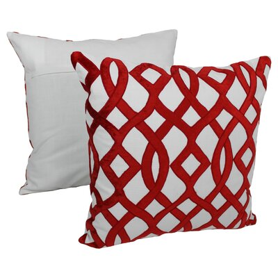 2 Piece Indian Trellis Cotton Throw Pillow Set Color: Crimson / Ivory