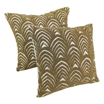 Arching Fans Cotton Throw Pillow Color: Gold / Ivory