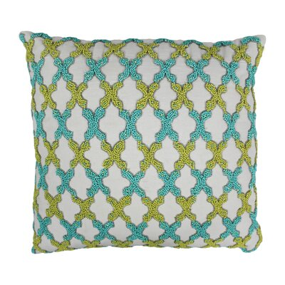 Moroccan Patterned Cotton Throw Pillow Color: Sea Green and Teal / Ivory