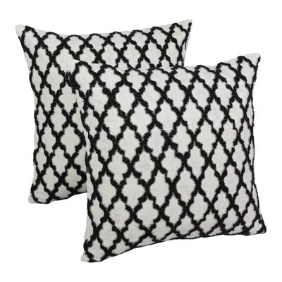 Moroccan Patterned Cotton Throw Pillow Color: Black / Ivory