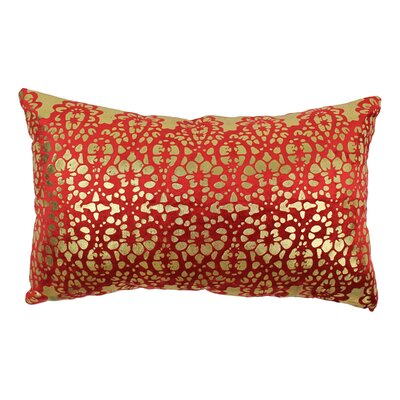 Paisley Scaled Cotton Throw Pillow Color: Crimson / Gold